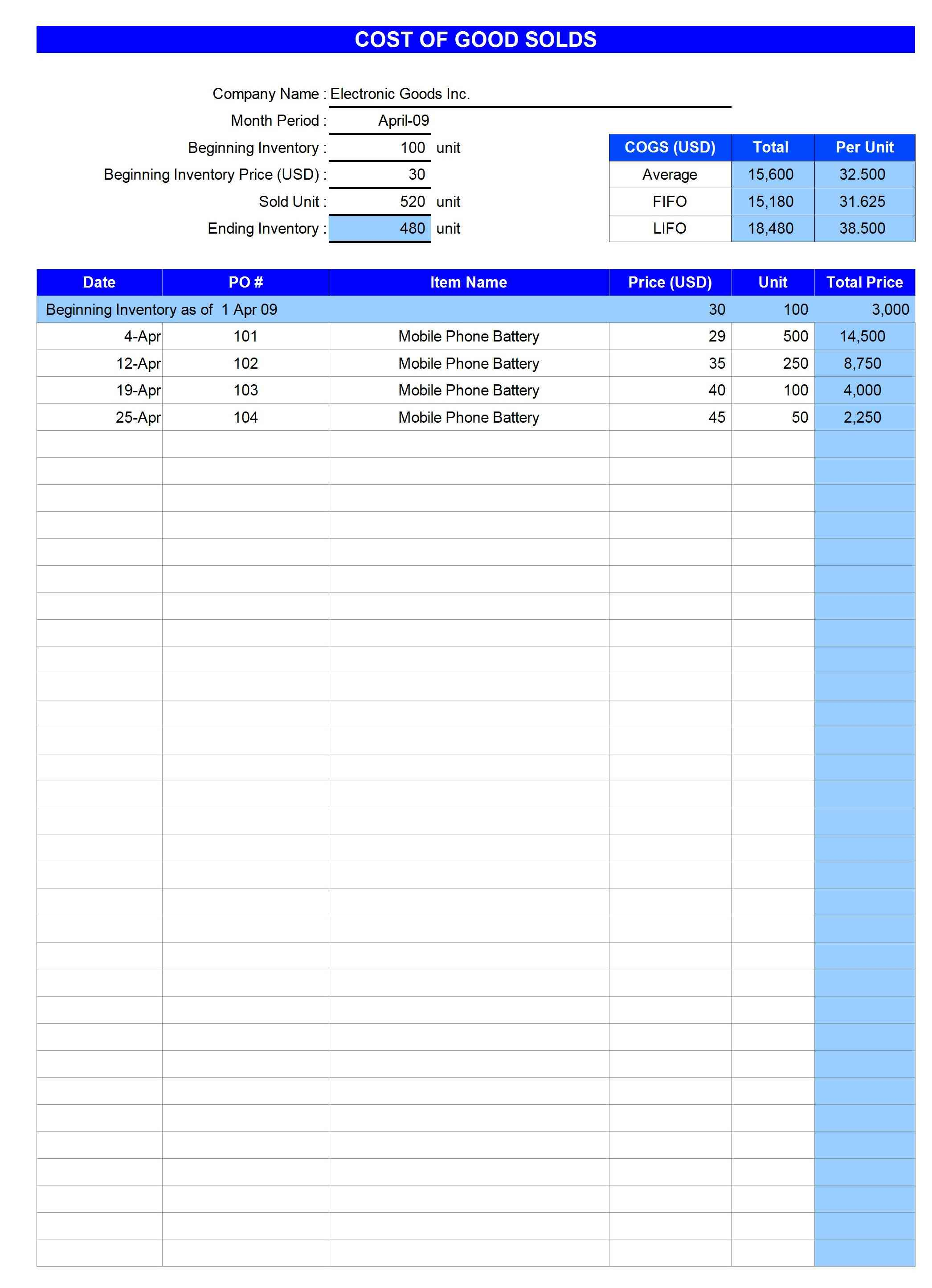 COGS-Calculator