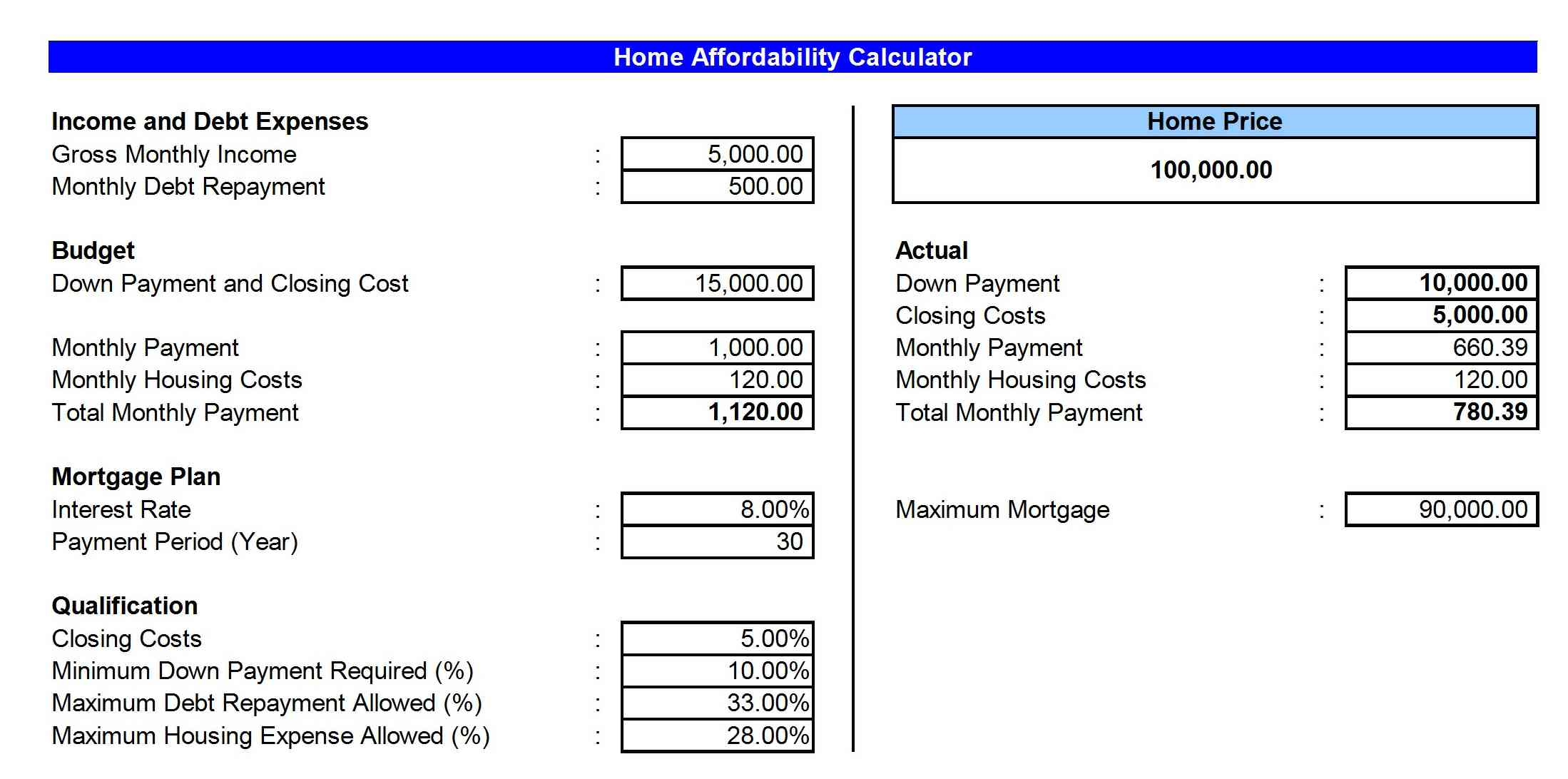 Home-Affordability-Calculator