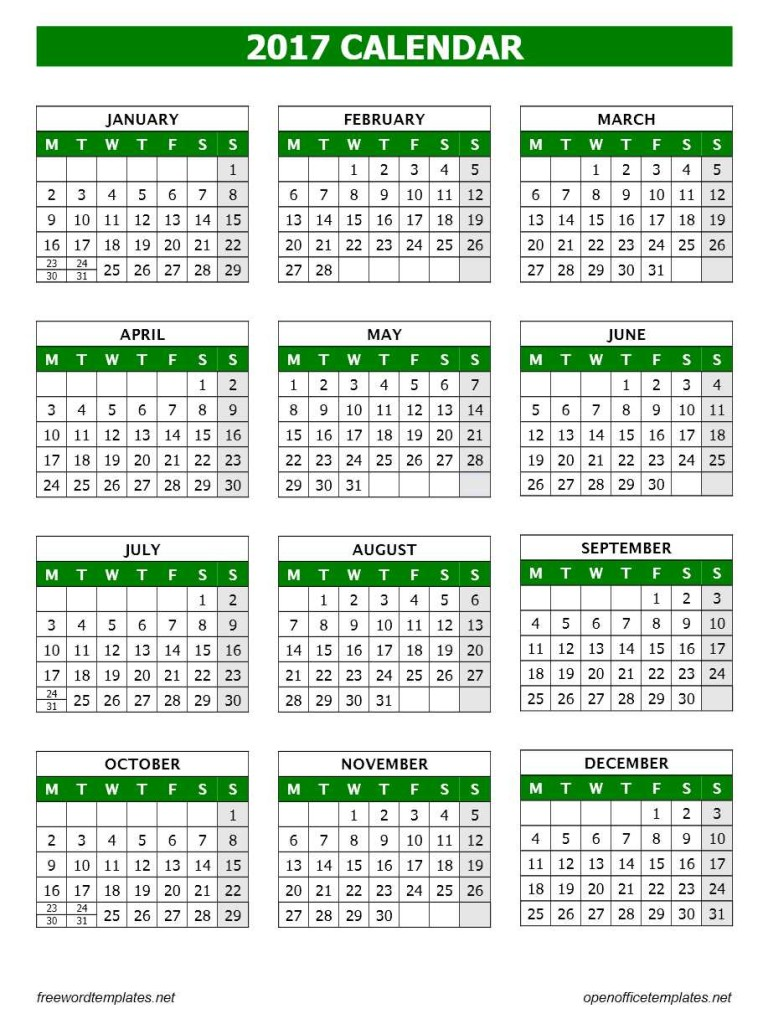 2017 Calendar OpenOffice Template - Writer