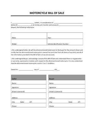 Motorcycle Bill of Sale Template | Open Office Templates