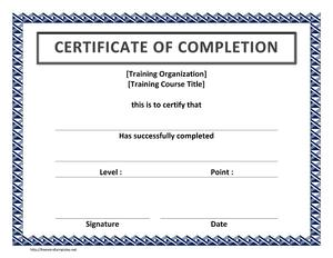 Training Certificate of Completion | Open Office Templates