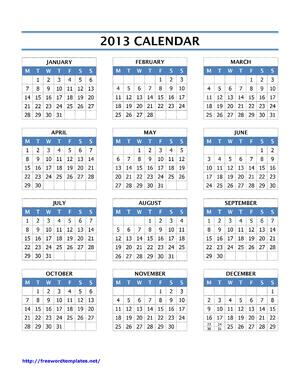 2013 Calendar | Open Office Templates