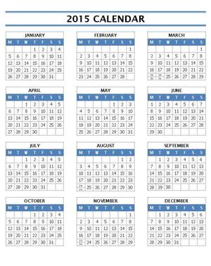 2015 Calendar Templates | Open Office Templates