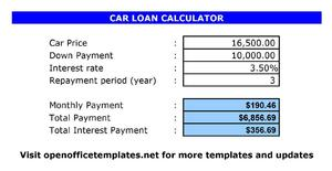 Car Loan Calculator | Open Office Templates
