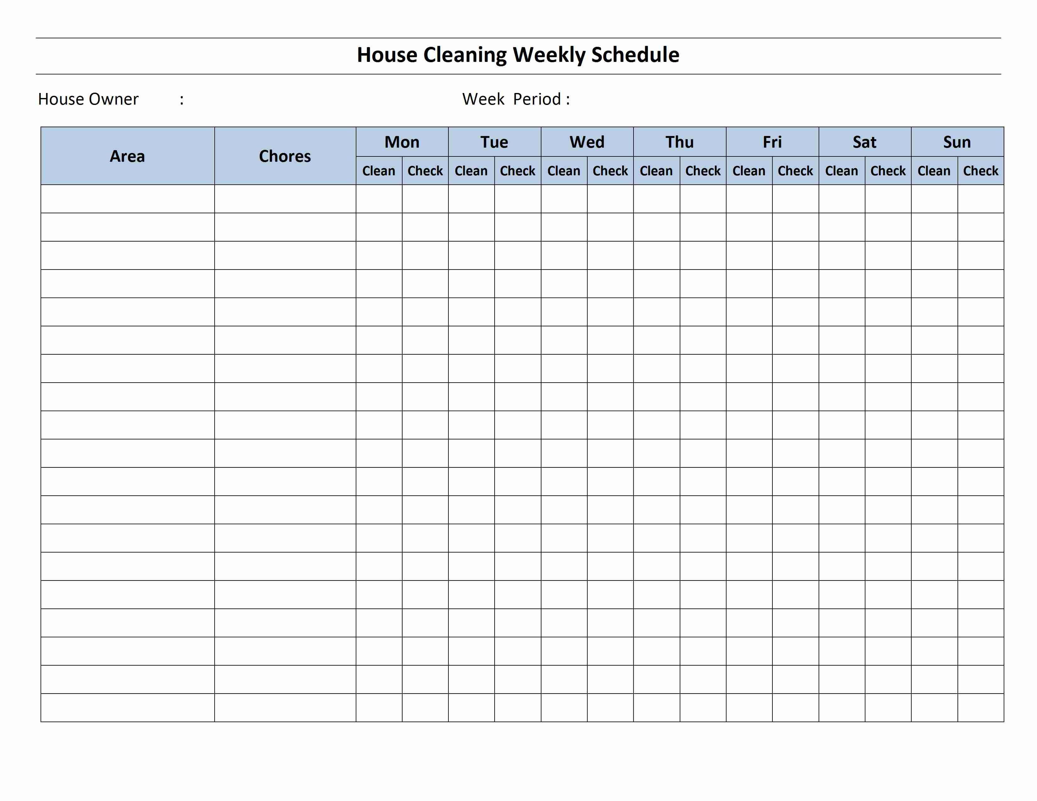 House Cleaning Schedule Open Office Templates