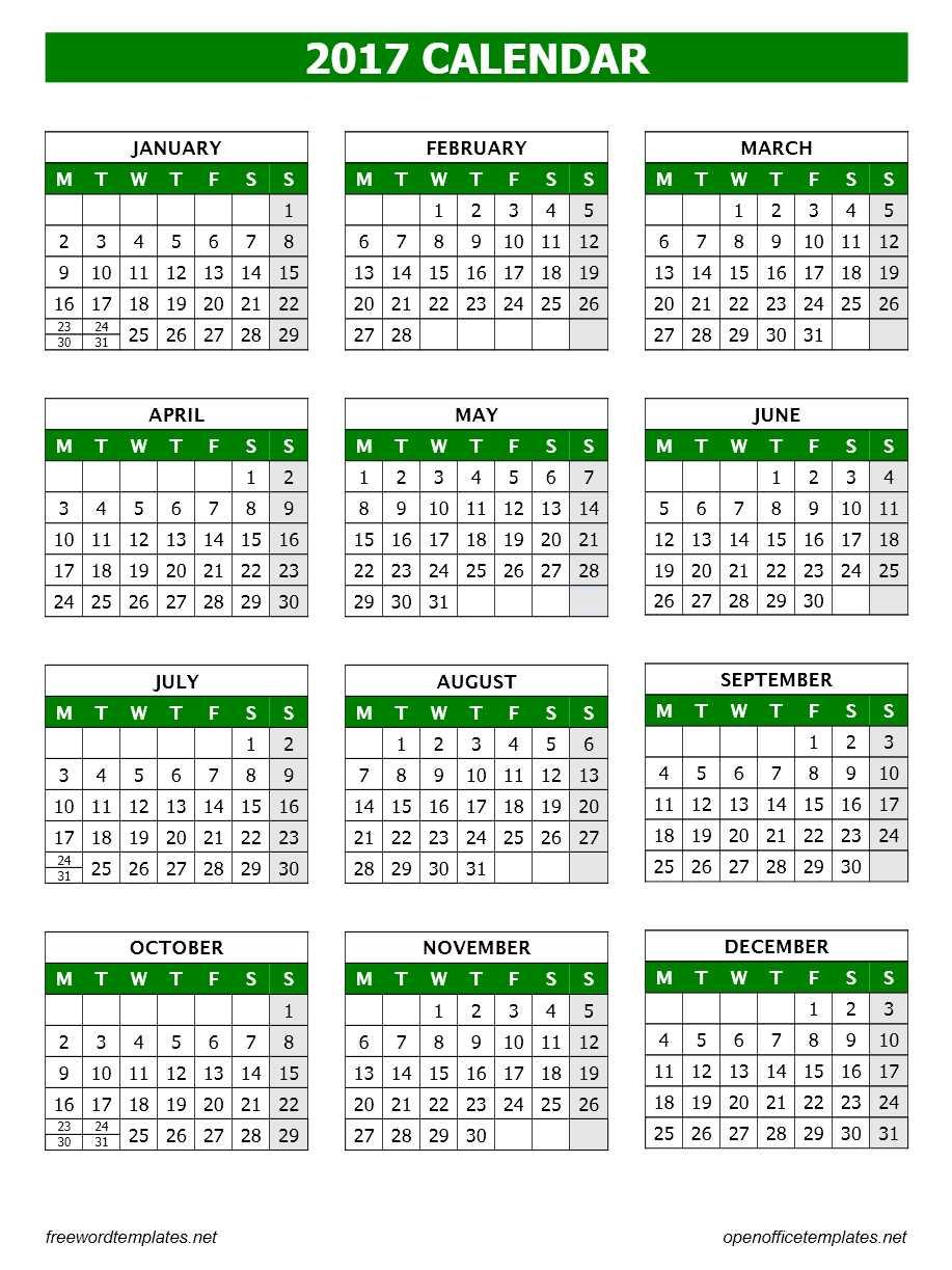 open office calendar template