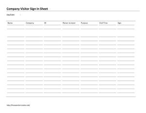 Company Visitor Sign In Sheet | Open Office Templates