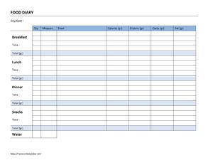 Food Diary Log | Open Office Templates